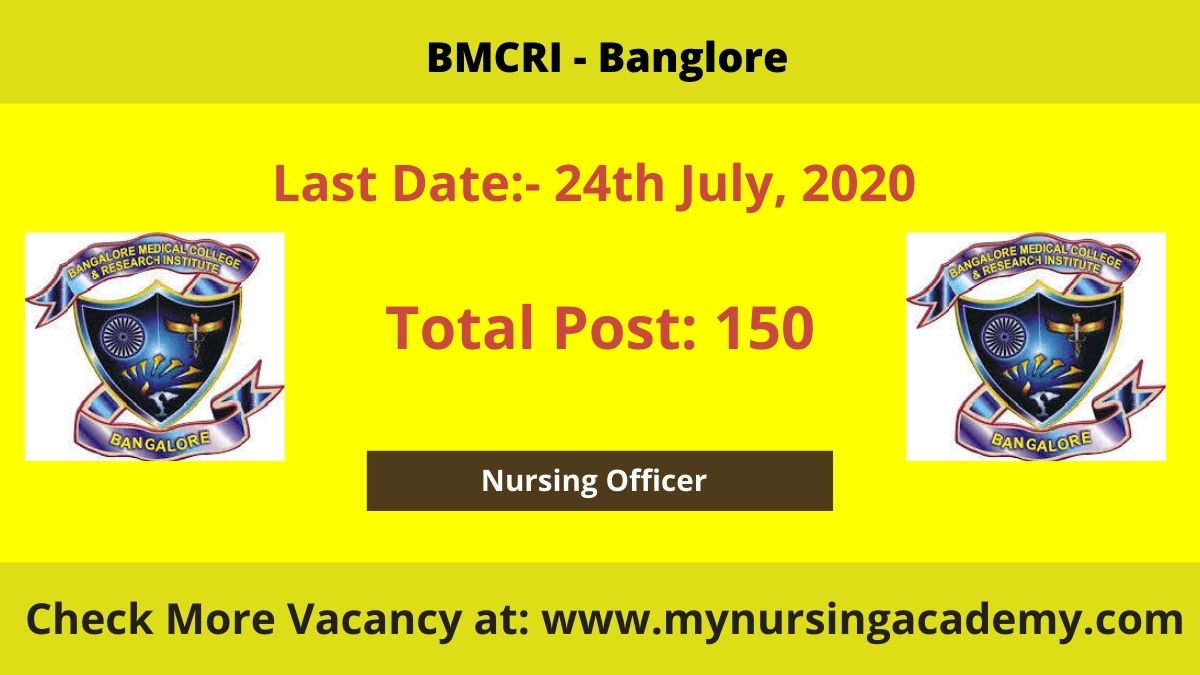 BMCRI 150 Nursing Officer vacancy