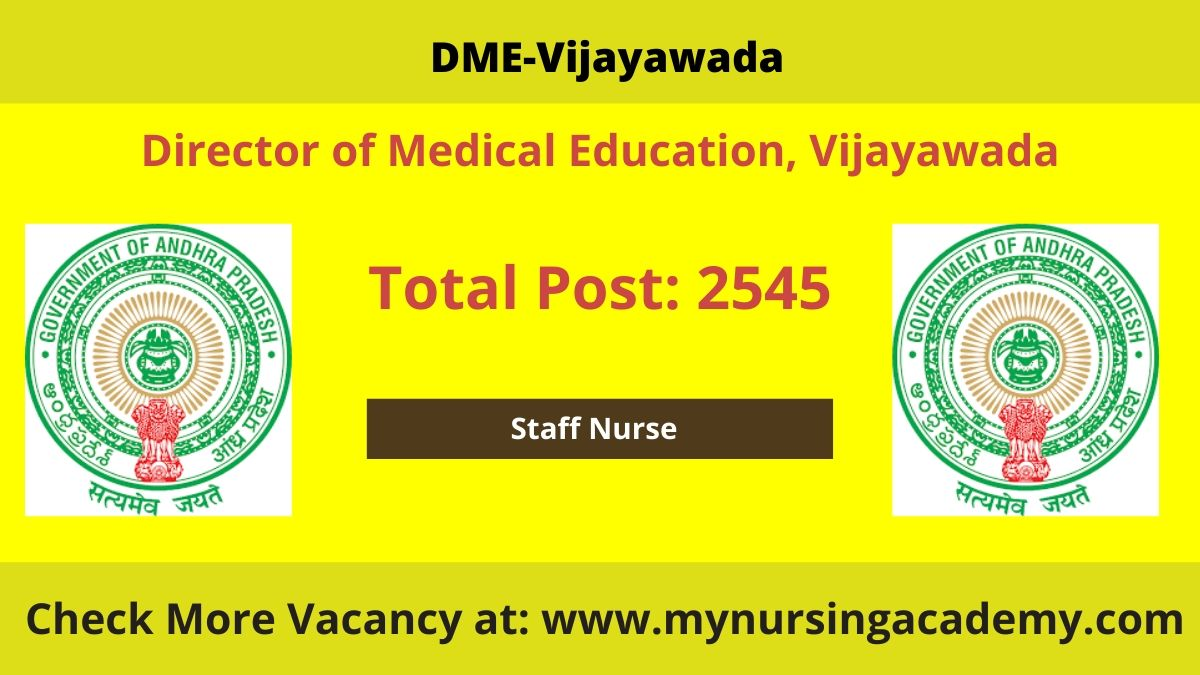 DME Vijayawada Staff Nurse Vacancy